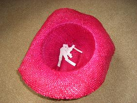 My pink straw hat with the names in