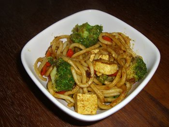 Curried udon noodle stir-fry