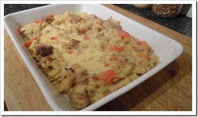 vegetarian-sausage-creamy-pasta-bake