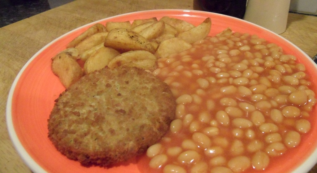 Fish Cakes Baked Beans