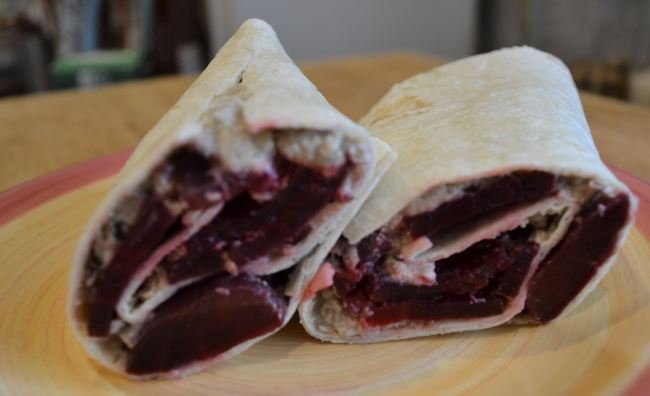 Bodychef aubergine and chickpea pate wrap with beetroot