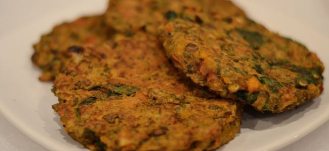 Sweet potato burgers with lentils and spinach