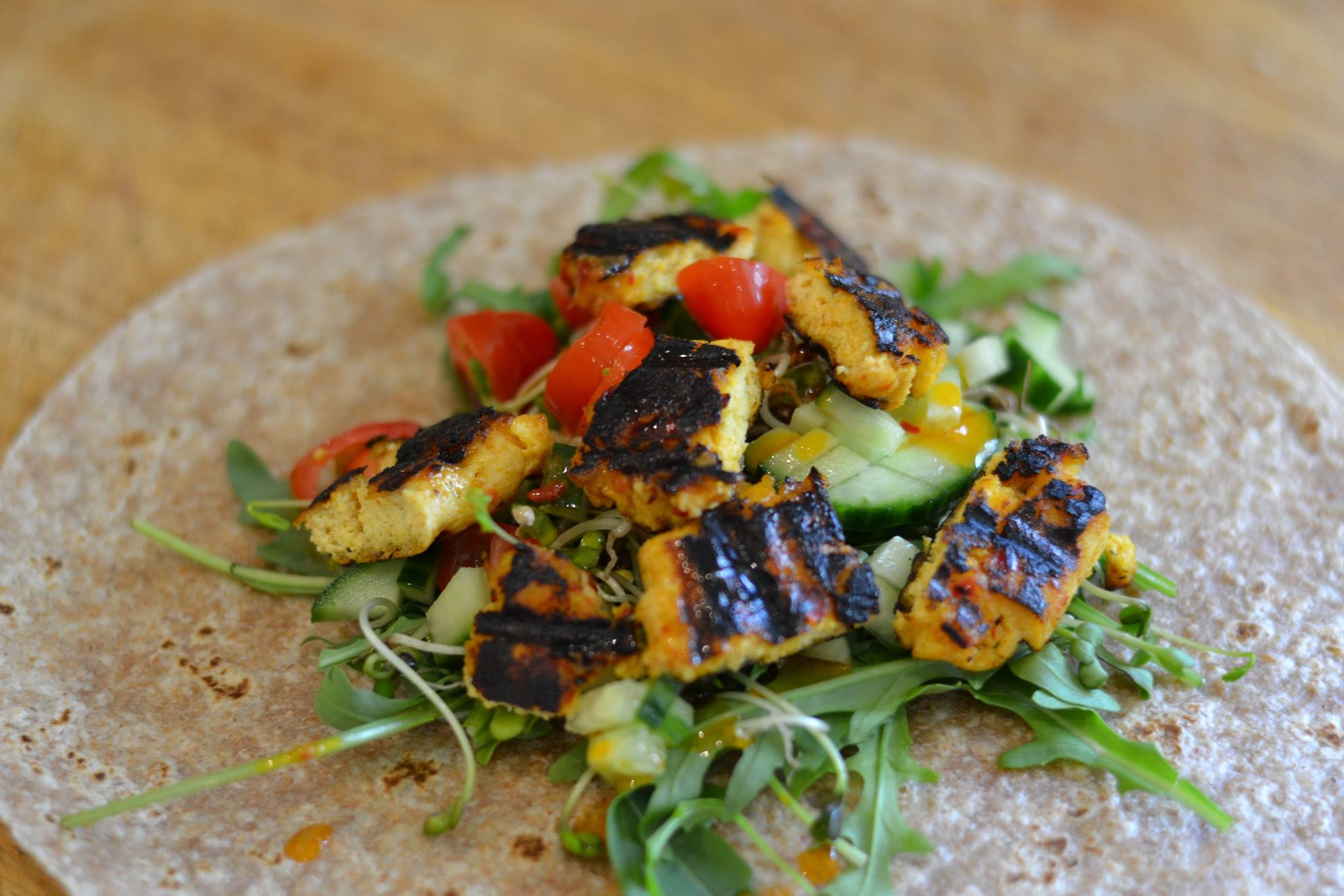 Marinated tofu wrap