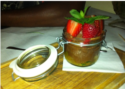 Vegan chocolate mousse at Norman's Coach and Horses, London's first vegetarian pub