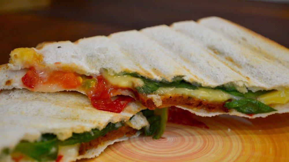 Vegan toasted cheese and chorizo sandwich
