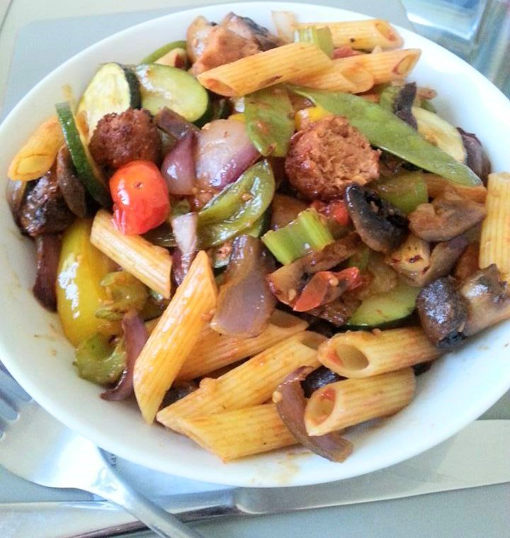 veggie sausage with pasta