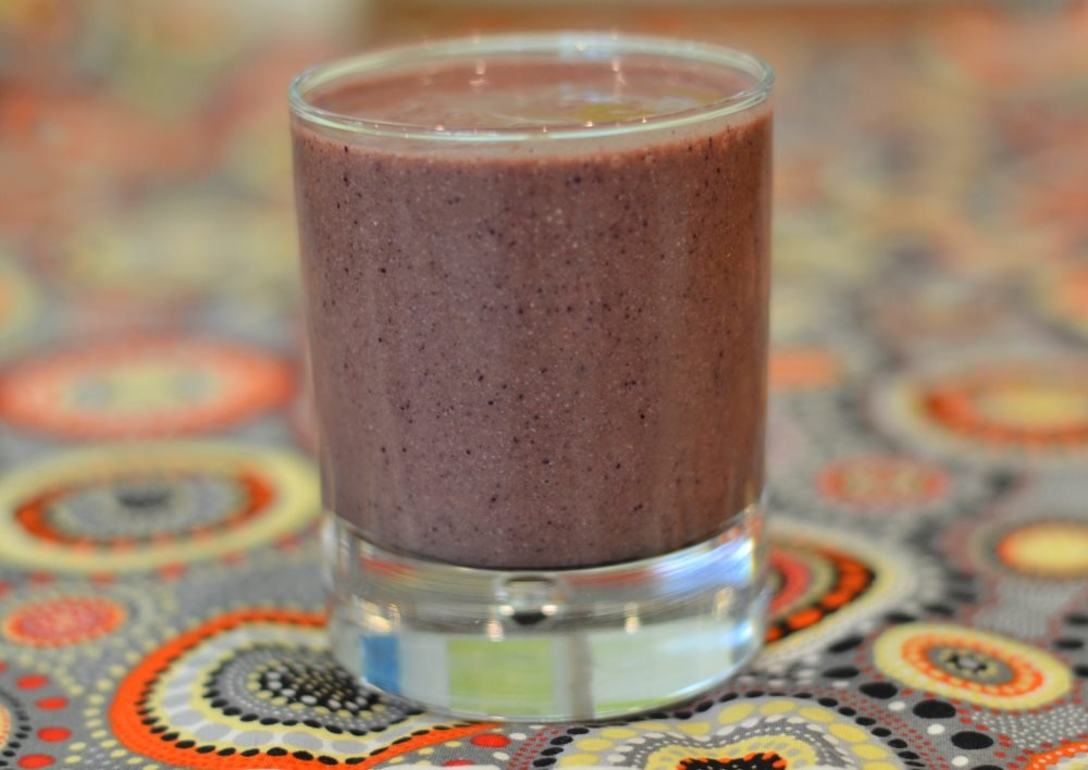 Vegan banana blueberry cacao cashew coconut milk smoothie