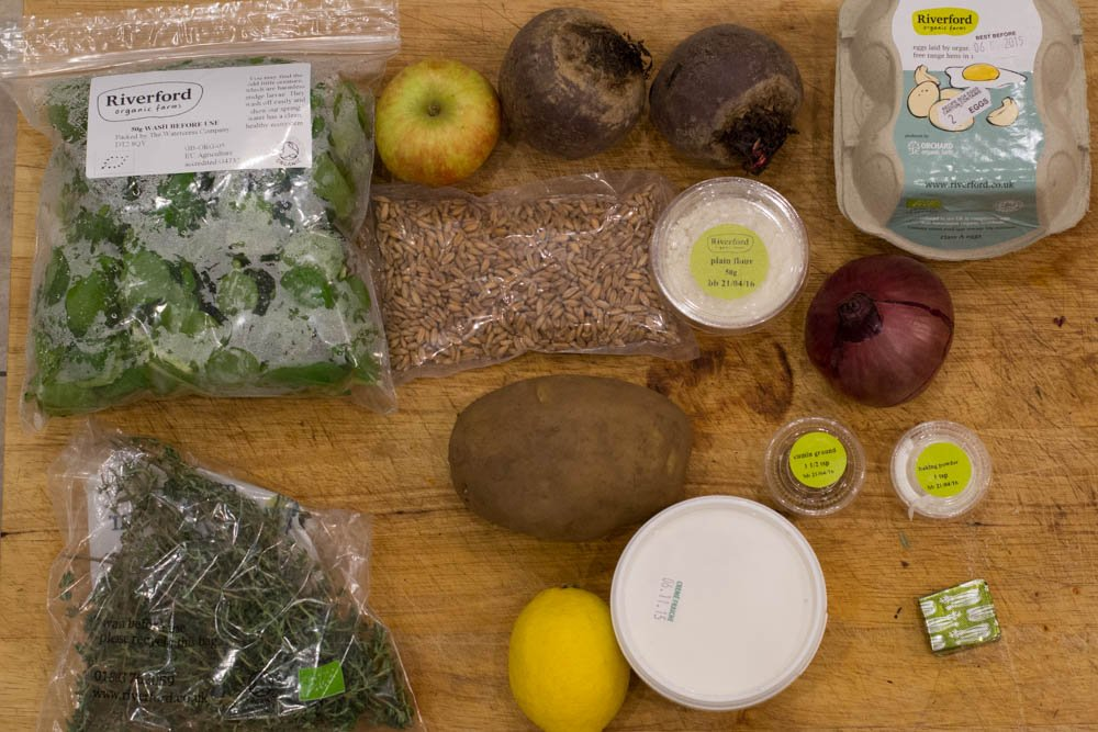Ingredients for the beetroot latkes from the Riverford vegetarian recipe box