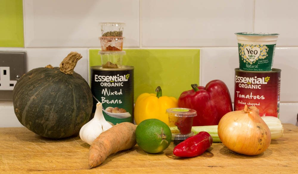 Ingredients for the roasted kabocha squash from the Riverford vegetarian recipe box