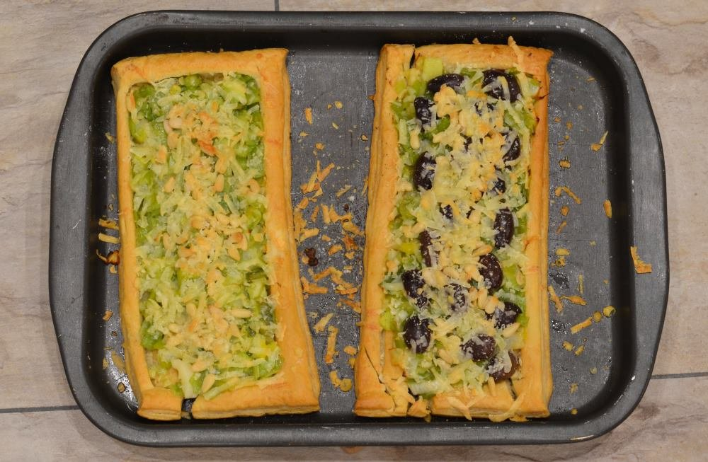 Leek, olive & wootton millstone tart from the Riverford vegetarian recipe box