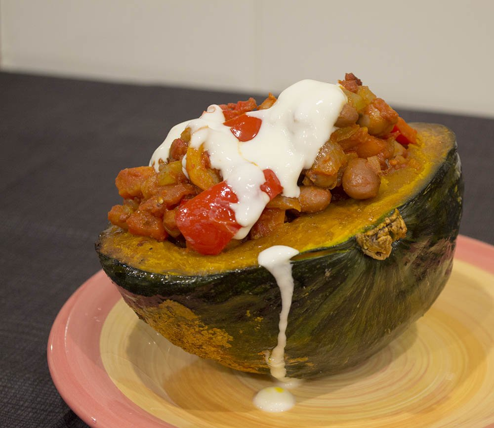 Roasted kabocha squash with pepper & bean chilli lime soured yoghurt