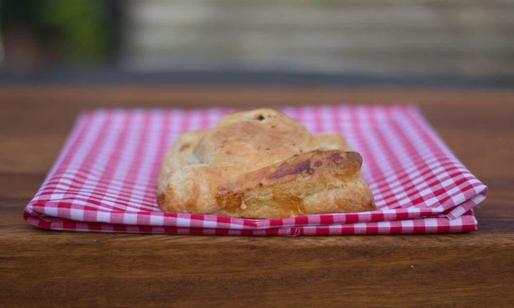 Vegetarian cheese, onion and jalapeno pasty