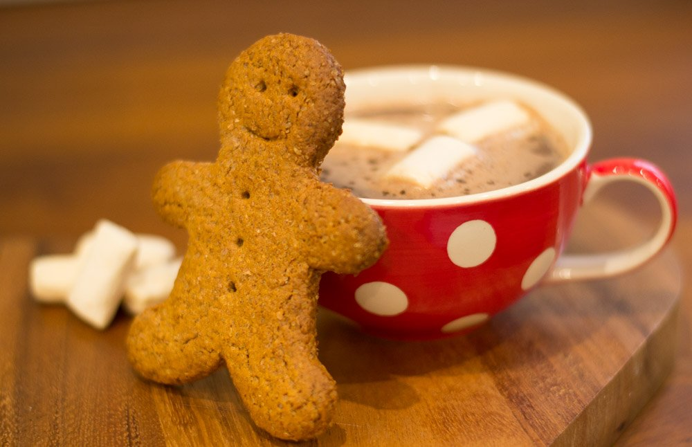 Vegan gingerbread man and hot chocolate