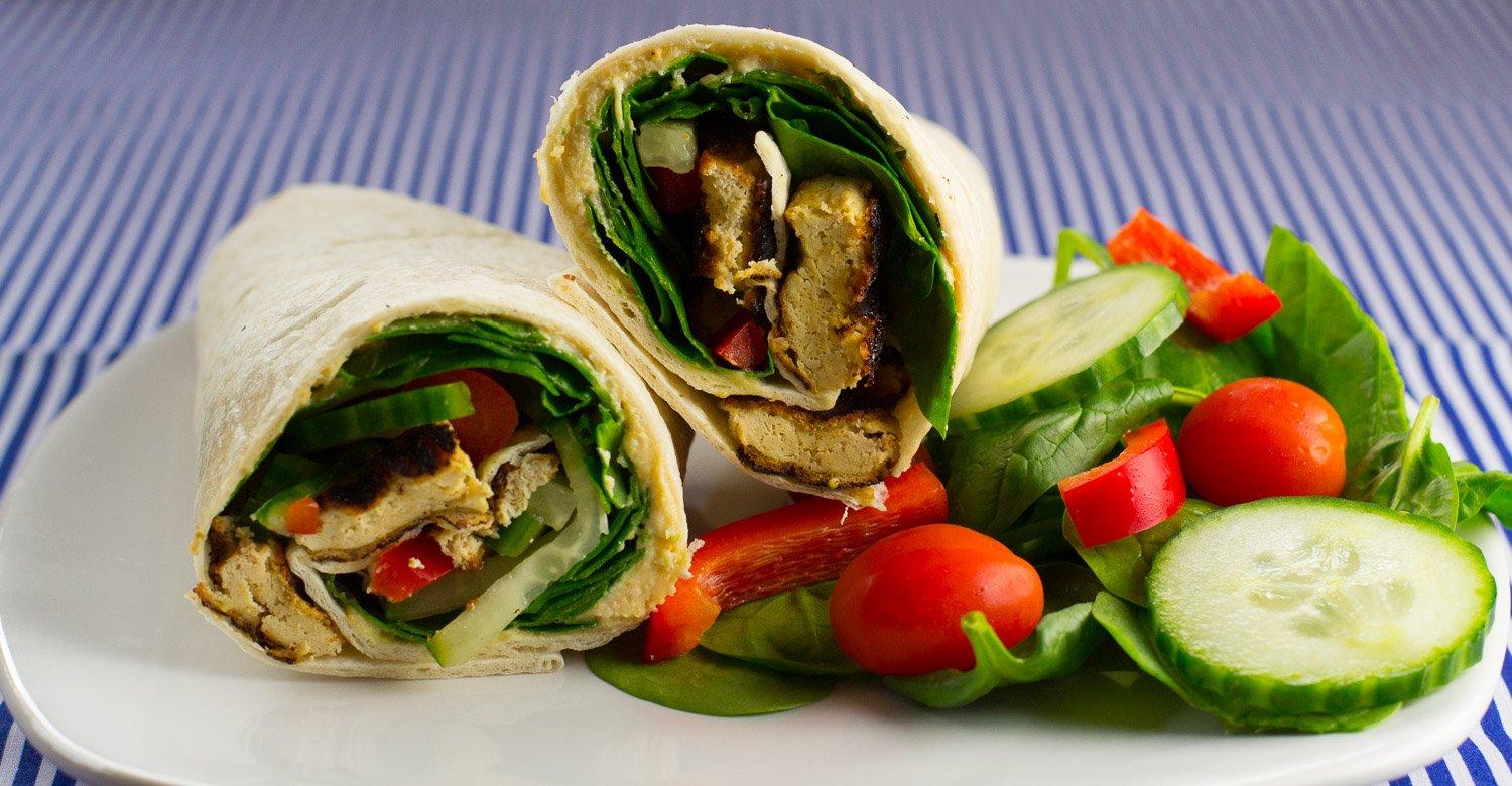 Vegan tofu wrap with salad