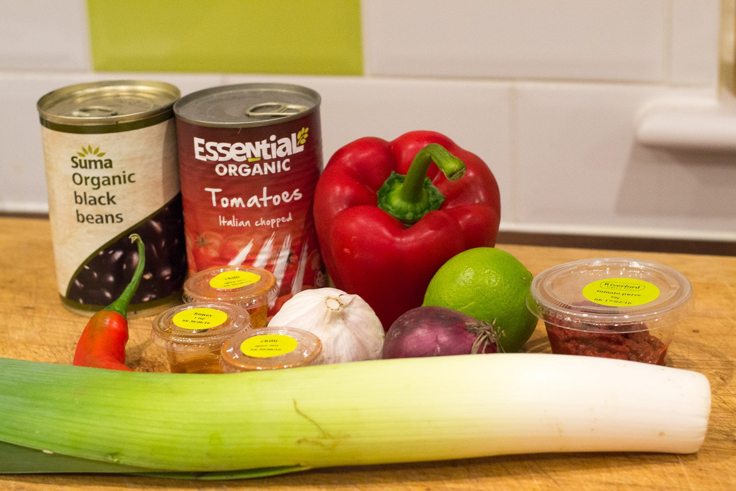The ingredients for the Mexican leek and black bean chilli