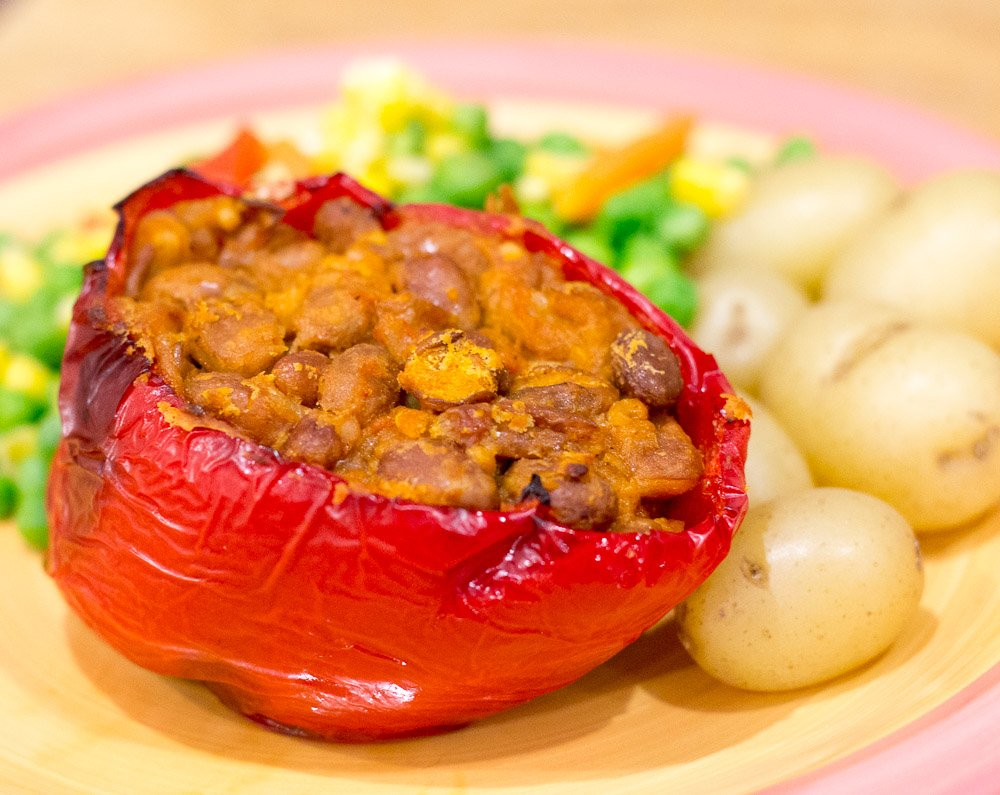Vegan pinto bean stuffed pepper
