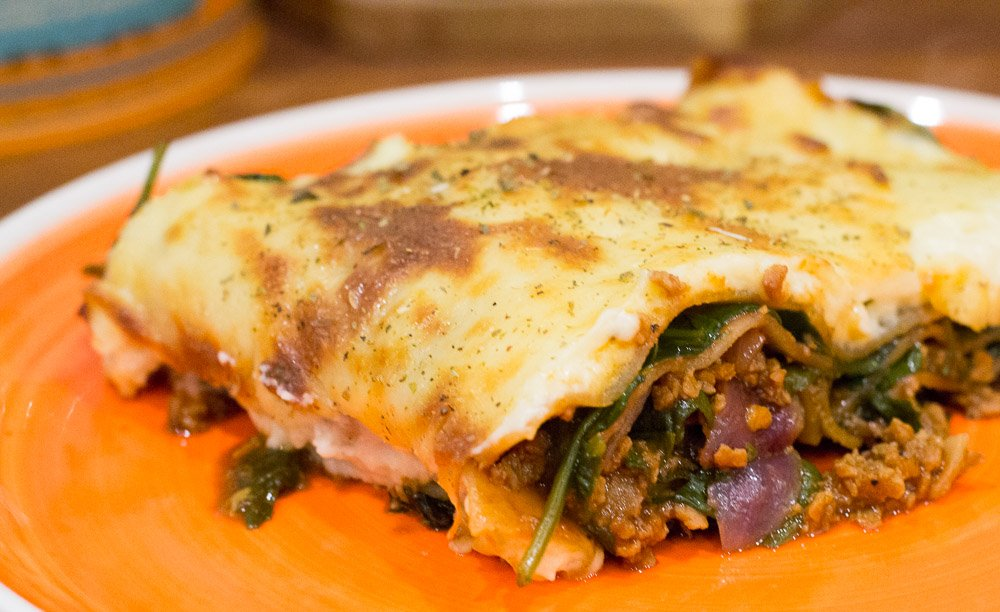 Gousto spinach and veggie mince lasagne