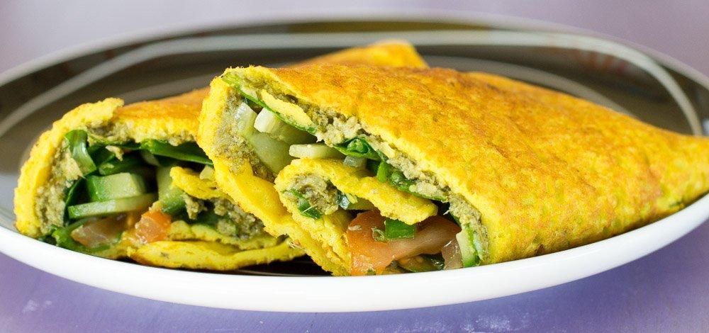 Vegan omelette wrap