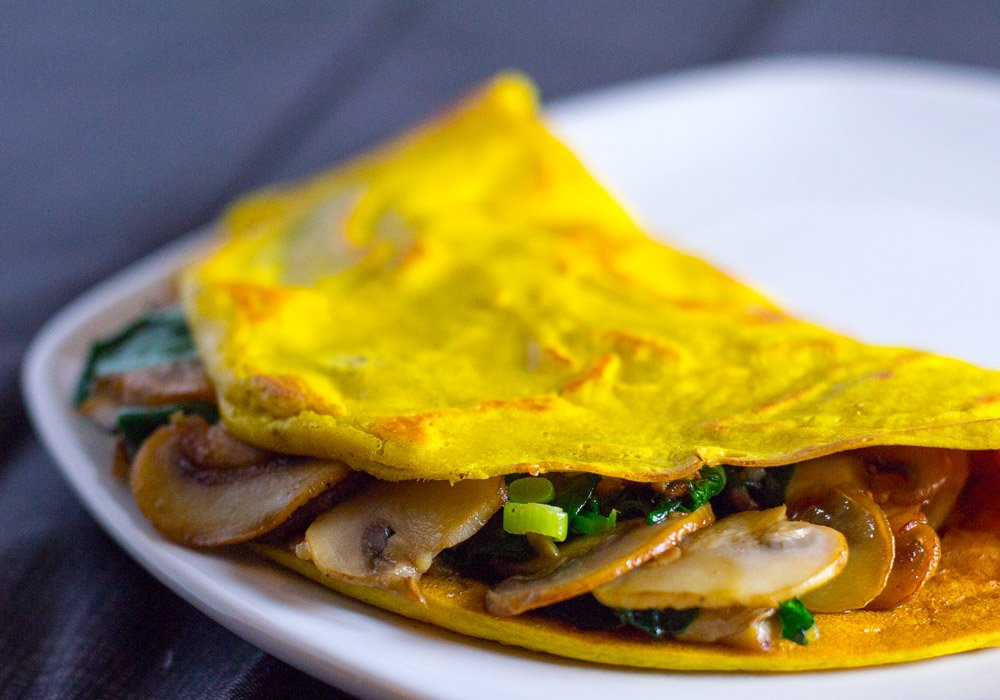 Vegan omelette with silken tofu