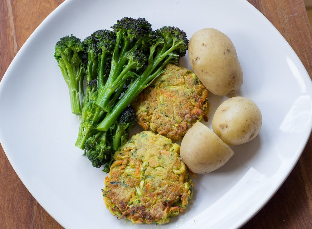 Sugar-free, gluten-free, dairy-free, wheat-free, egg-free, courgette and carrot burgers