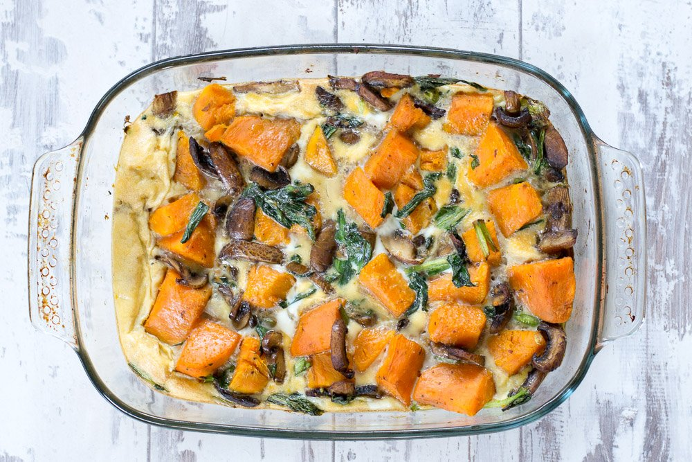 Sweet potato, mushroom and wild garlic frittata