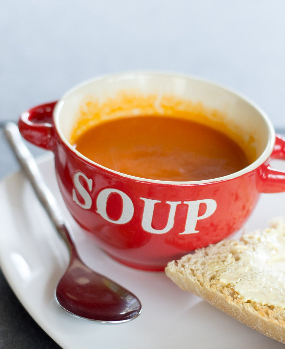 Vegan tomato soup and ciabatta