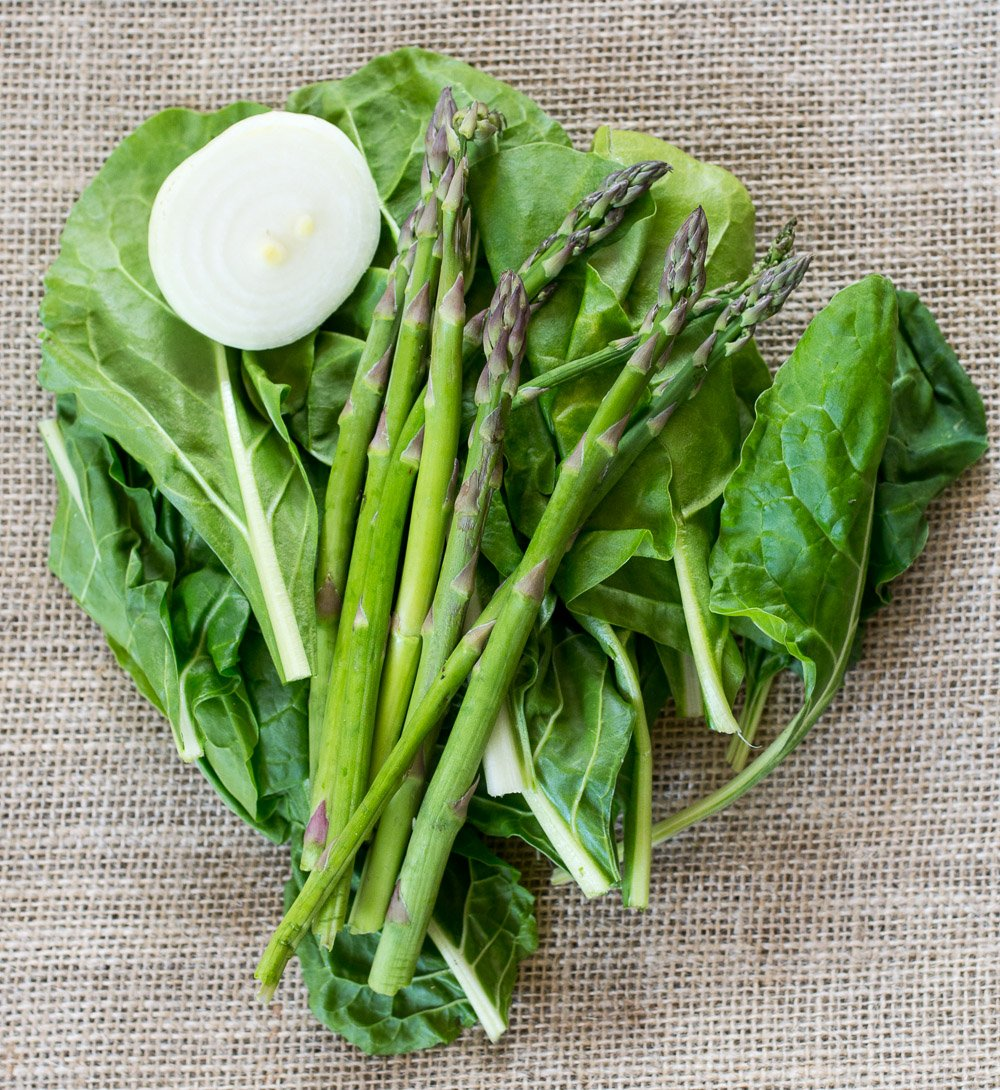 Onion, asparagus and Swiss Chard