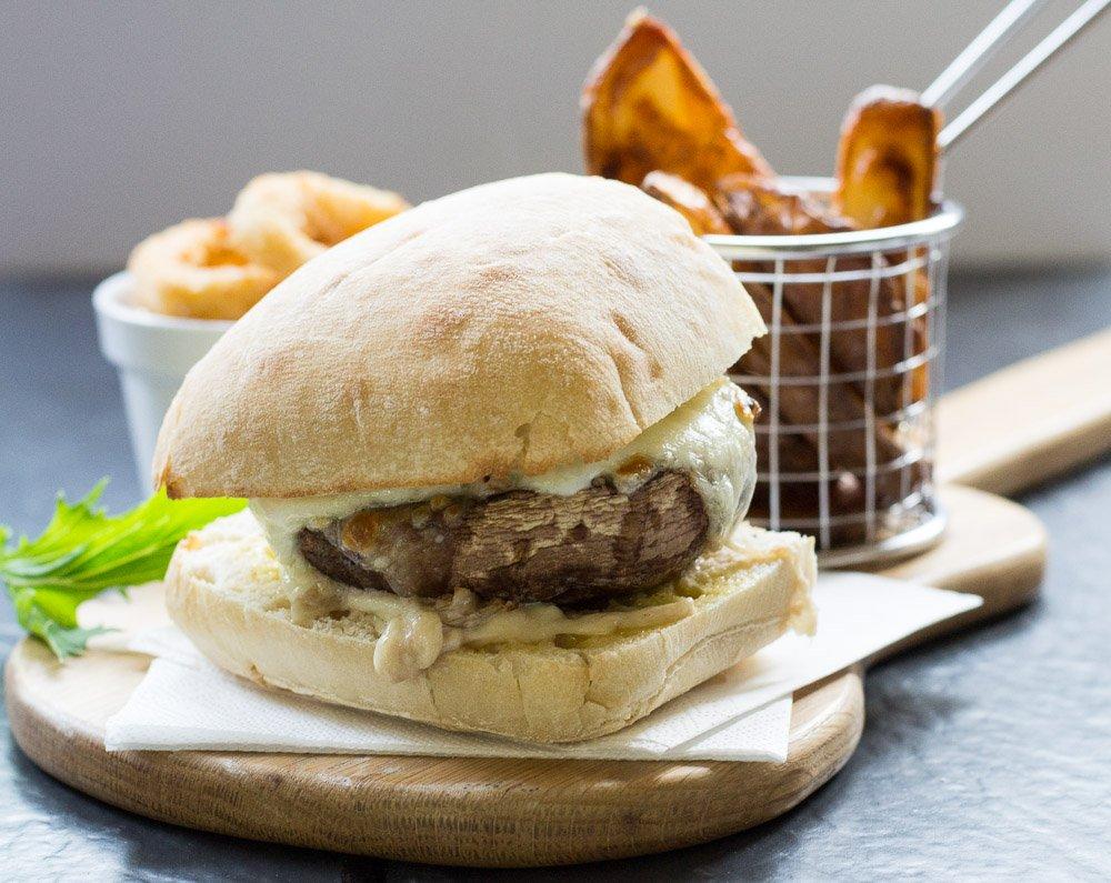 Portobello mushroom burgers and homemade potato wedges