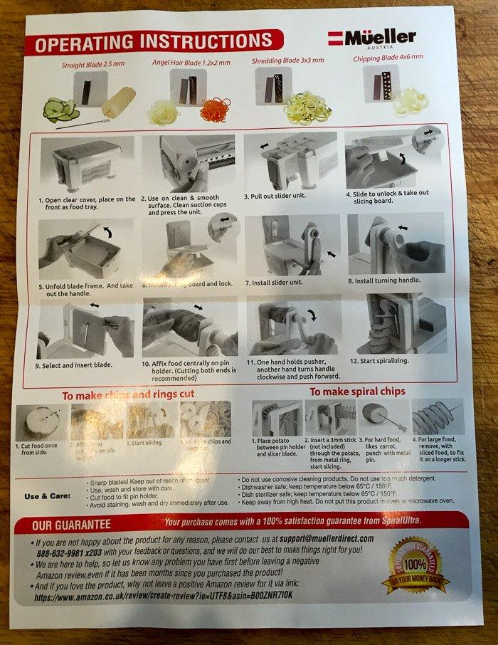 Mueller Spiral Pro 4 Blade Spiralizer instructions