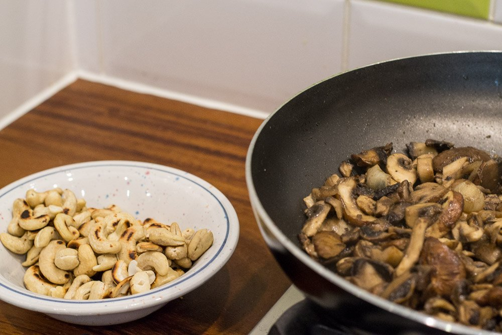 toasted cashews and fried mushrooms