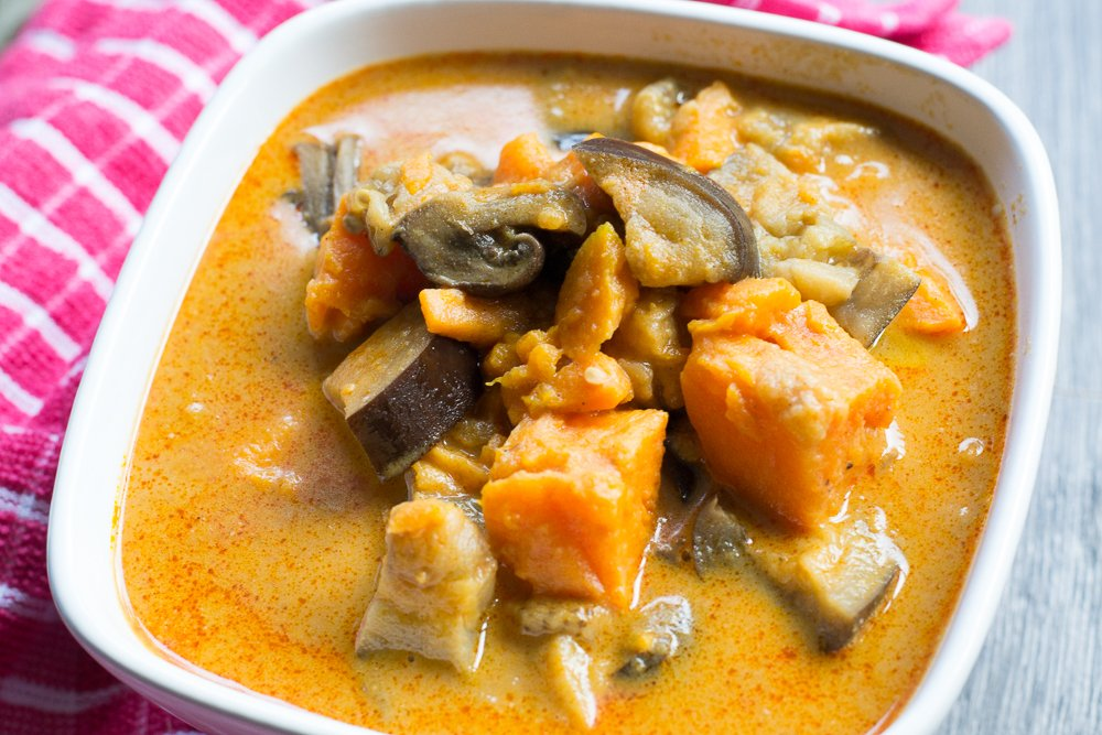 Aubergine, mushroom and sweet potato massaman curry