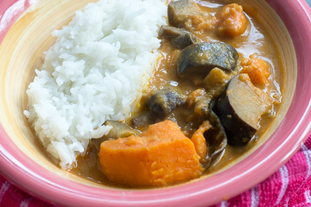 Aubergine, mushroom and sweet potato massaman curry