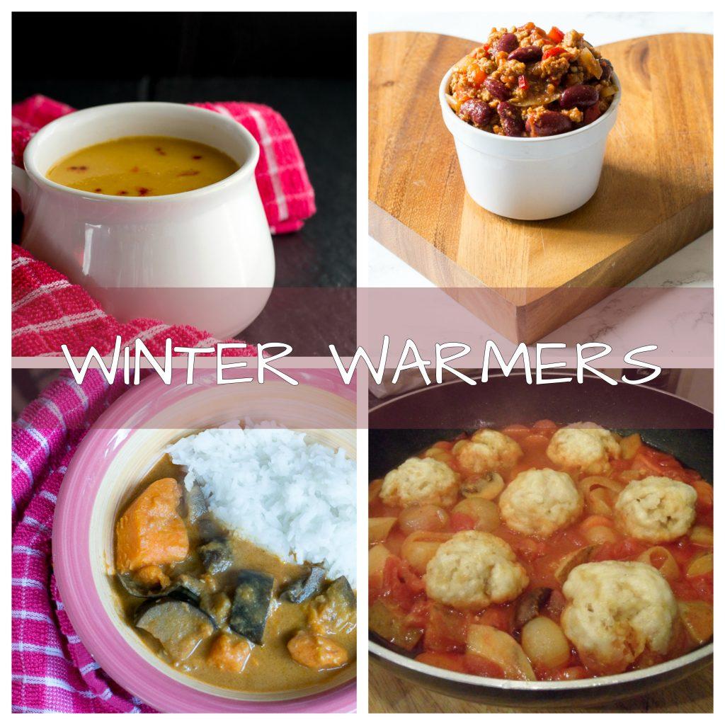 collage of easy vegan winter food