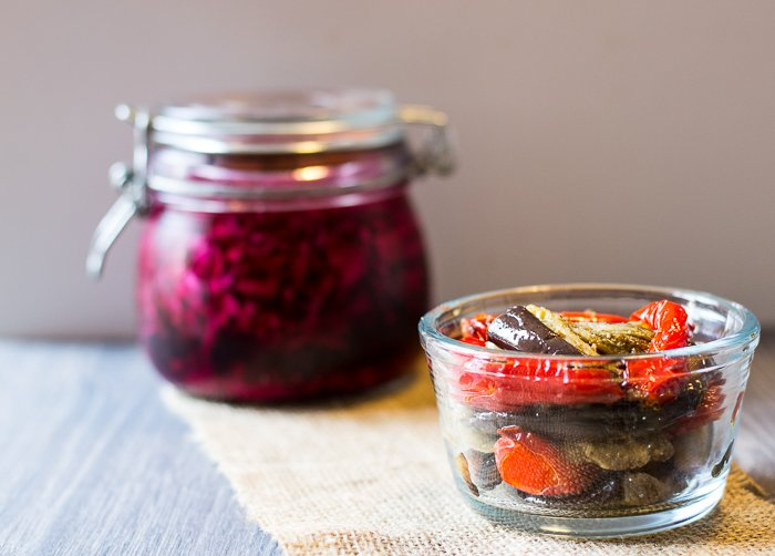 airfried aubergine and red pepper and pickled cabbage