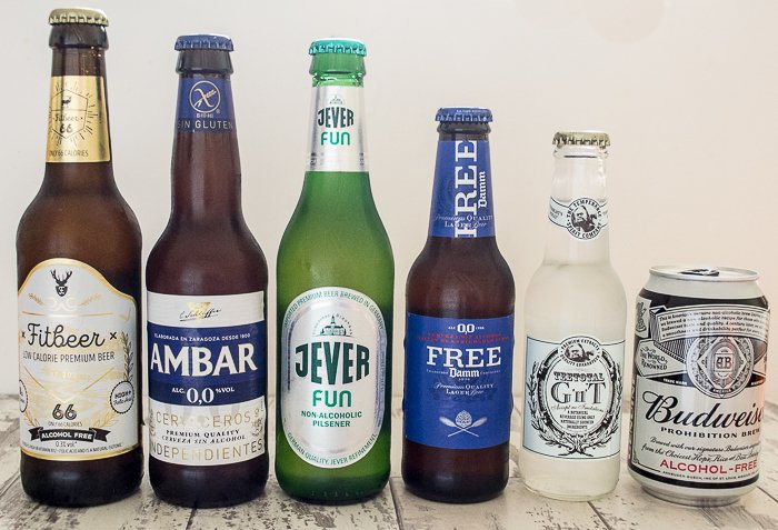 vegan alcohol-free beer, lager and gin