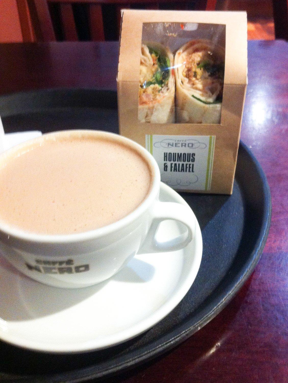 Caffe Nero vegan hot chocolate and wrap