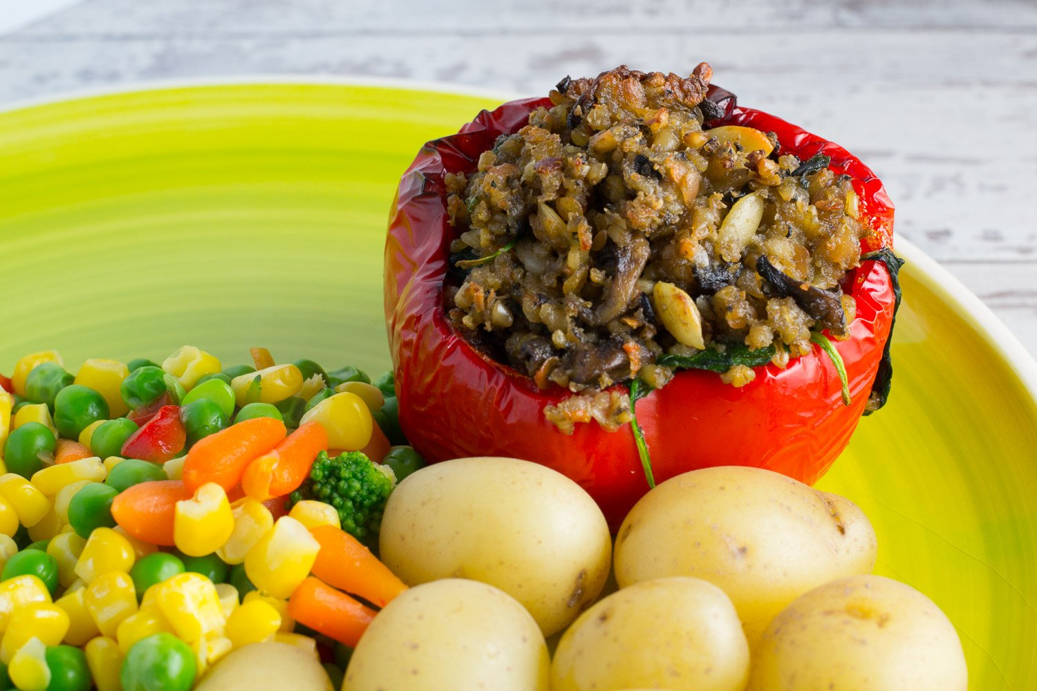 vegan haggis stuffed pepper
