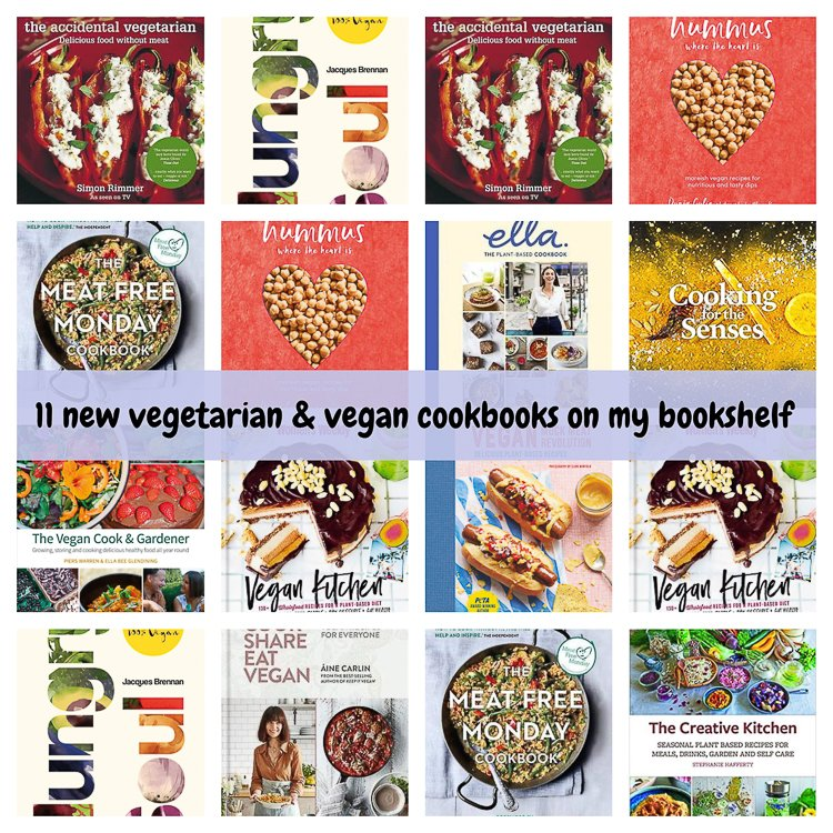 vegan and vegetarian cookbooks collage