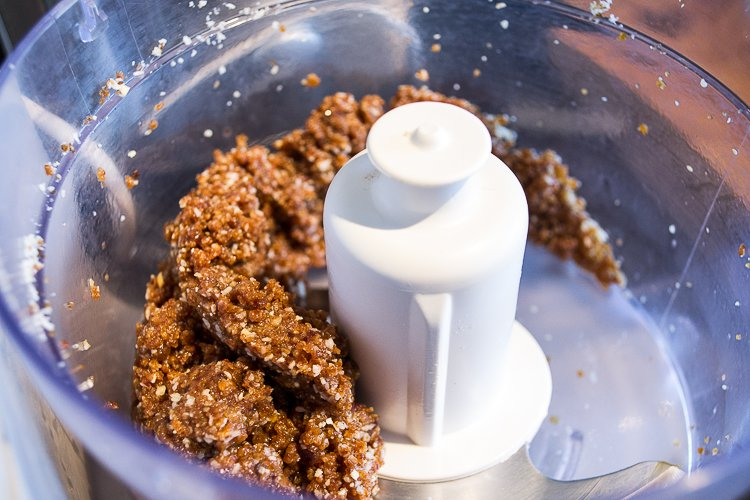 energy ball mixture in food processor