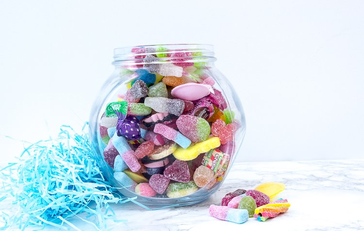 a kilo of vegan sweets in a jar