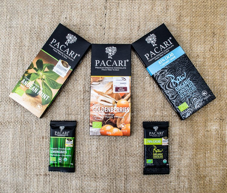 five bars of Pacari chocolate
