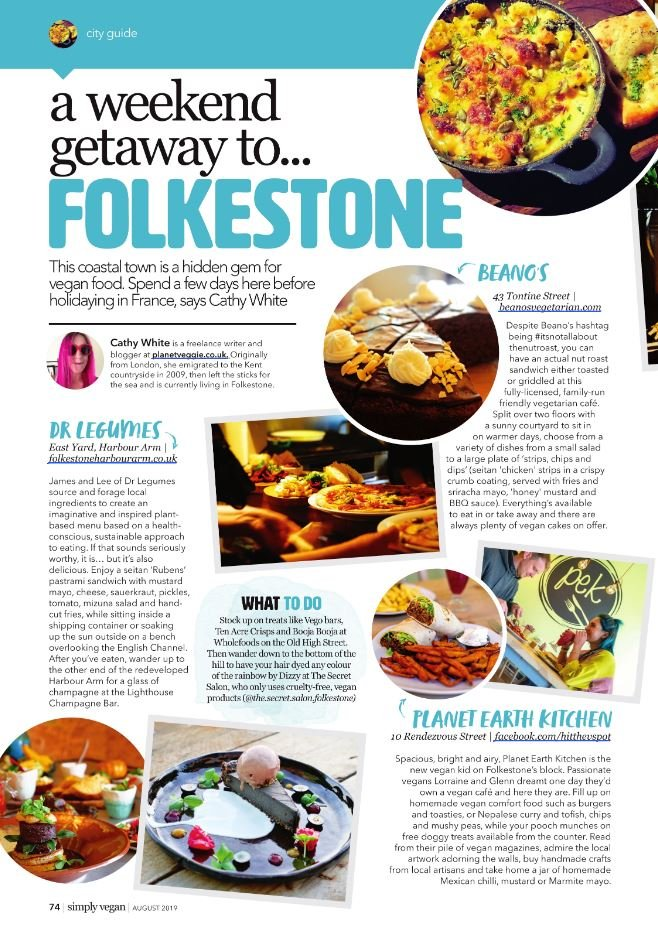 Vegan Folkestone in Simply Vegan Magazine