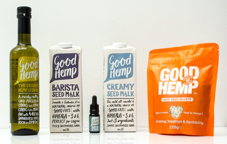 Image showing hemp oil, CBD oil, hemp milk and hemp seeds from Good Hemp