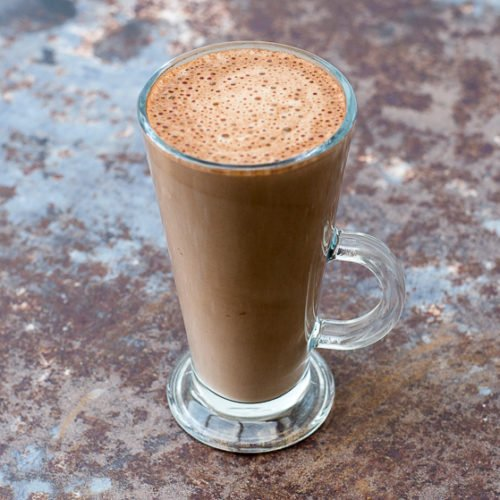 raw cacao hot chocolate in a glass
