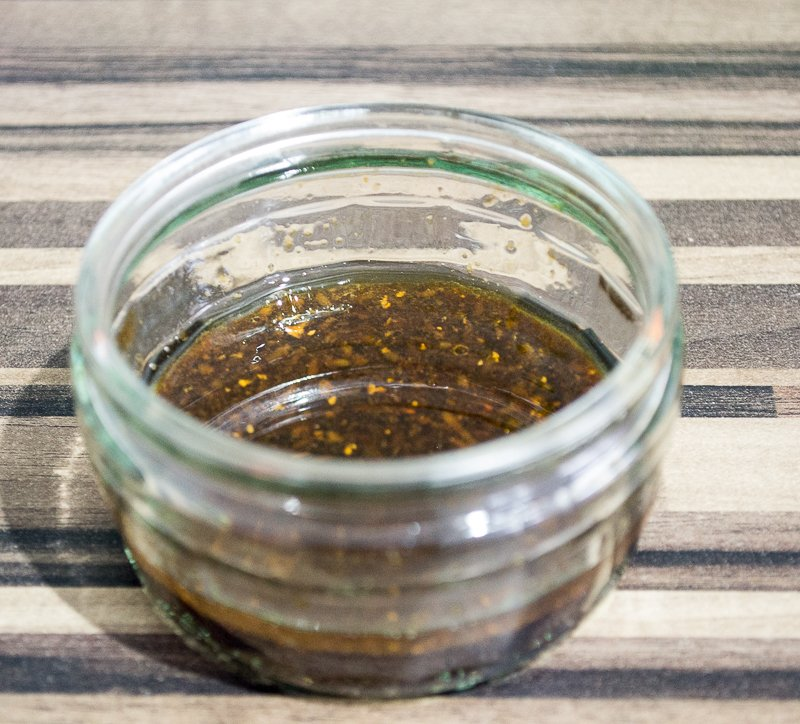 Dressing made of soy sauce, ginger, lemongrass, toasted sesame oil and lime juice
