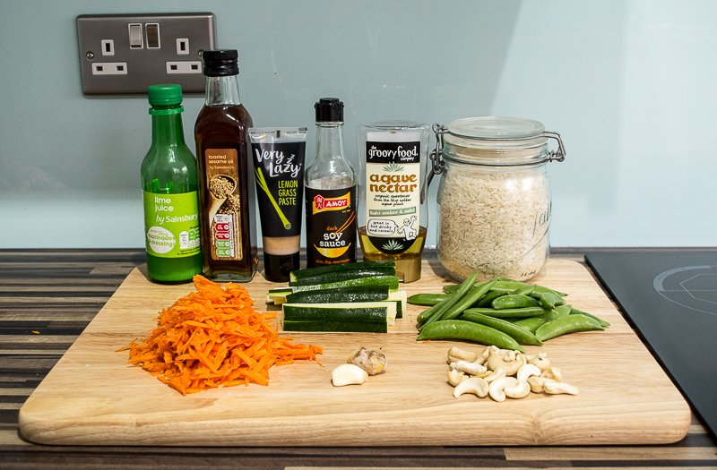 Lime juice, toasted sesame oil, lemongrass, soy sauce, agave nectar, Basmati rice, grated carrot, sliced courgette, sugar snap peas, a clove of garlic, a handful of cashews, fresh ginger