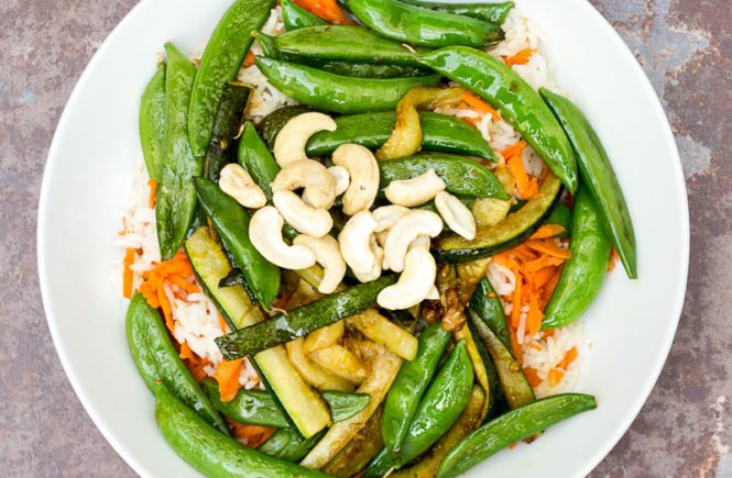 Thai stir fried vegetables with rice in a bowl